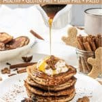 See how to make fluffy gingerbread pancakes! The easy holiday spice pancakes recipe is quick to whip up and perfect for Christmas morning breakfast and holiday brunch. Made with warming gingerbread spices, this healthy pancake recipe with almond flour is gluten-free, dairy-free, refined sugar-free and suitable for paleo. Plus, the healthy breakfast recipe takes only 30 minutes from start to finish. Great for kids, made without molasses. #pancakes #gingerbread #breakfast   countryhillcottage.com