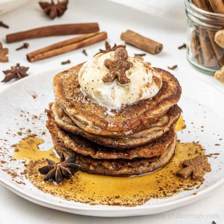 Gingerbread Pancakes - Healthy Christmas Pancake Recipe (GF, DF, Paleo)