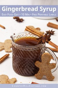 See how to make gingerbread syrup! This healthy Christmas syrup is packed with holiday flavours like cinnamon and vanilla. Use this spiced syrup for pancake, waffle, ice cream, desserts, drinks, coffee, latte, cocktails. The homemade syrup recipe is vegan, gluten-free, refined sugar-free, paleo-friendly. The recipe also includes instructions for keto low carb sugar-free gingerbread syrup and free printable labels for gift giving. #gingerbread #syrup #homemade #holidays | countryhillcottage.com
