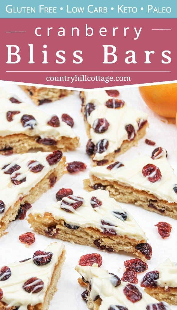 This low carb gluten-free cranberry bliss bars recipe is a delicious and healthy keto holiday treats idea! The easy homemade Starbucks copycat cranberry bars taste just like from the coffeeshop but are dairy-free and thm. The iced cranberry bars are keto, paleo, and clean eating friendly. Plus, iced keto cranberry blondies are a delicious Christmas food gift and holiday dessert. Keto holiday recipes. #cranberryblissbars #lowcarb #glutenfree #keto #paleo #skinnytaste   countryhillcottage.com