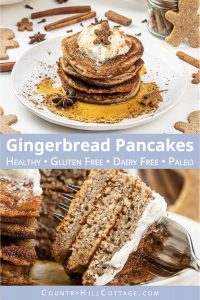 See how to make fluffy gingerbread pancakes! The easy holiday spice pancakes recipe is quick to whip up and perfect for Christmas morning breakfast and holiday brunch. Made with warming gingerbread spices, this healthy pancake recipe with almond flour is gluten-free, dairy-free, refined sugar-free and suitable for paleo. Plus, the healthy breakfast recipe takes only 30 minutes from start to finish. Great for kids, made without molasses. #pancakes #gingerbread #breakfast | countryhillcottage.com