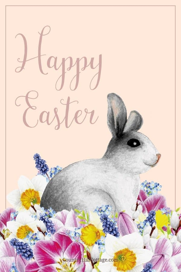Free Happy Easter Bunny Printables! The printable spring decorations includes Easter wall art, quotes and sayings, Easter cards, Easter tags. The design shows vintage inspired aquarelle aesthetic drawings on modern pastel backgrounds. The illustration pictures include flowers, a rabbit, egg and rustic farmhouse decor. An easy DIY crafts idea for decorating, gifts, baskets, to send greetings, for kindergarten, preschool and school #Easter #printables #homedecor #wallart | countryhillcottage.com