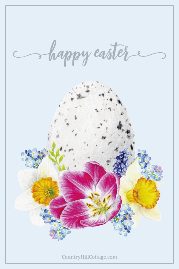 Free Happy Easter Printables! The printable spring decorations includes Easter wall art, quotes and sayings, Easter cards, Easter tags. The design shows vintage inspired aquarelle aesthetic drawings on modern pastel backgrounds. The illustration pictures include flowers, a rabbit/bunny, egg and rustic farmhouse decor. An easy DIY crafts idea for decorating, gifts, baskets, to send greetings, for kindergarten, preschool and school #Easter #printables #homedecor #wallart | countryhillcottage.com