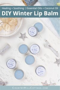 See how to make a simple healing lip balm recipe to care for chapped, peeling lips! This homemade natural lip balm for dry lips with organic coconut oil, hydrating castor oil and hemp seed oil is ready in minutes. This easy DIY lip balm without beeswax is a great moisturizing lip balm for winter and tinted with shimmer mica. The step-by-step tutorial includes cute labels for packaging containers. #skincare #vegan #lipbalm #beautydiy #essentialoils #coconutoil #winter | countryhillcottage.com