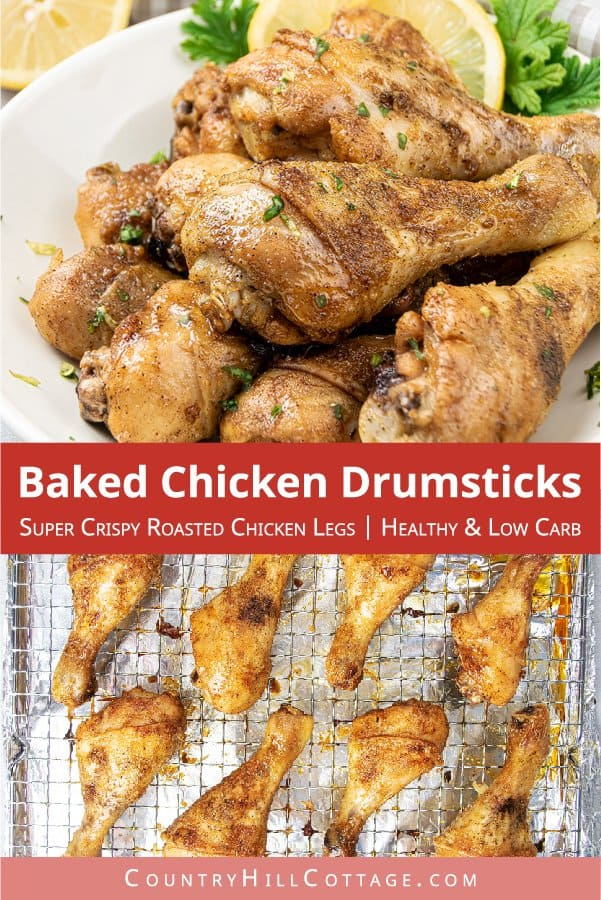 Easy healthy oven baked crispy chicken drumsticks is one of the best chicken drumstick recipes! Simple crunchy oven fried roasted chicken legs are delicious with rice, salad or fries and are a quick family midweek chicken dinner ideas, lunch meals, game day snack, or appetizer. The healthy easy chicken recipe is keto, low carb and gluten free. See how to cook tender shake and bake roasted chicken legs with a spice rub marinade. #chicken #bakeddrumsticks #bakedchicken | countryhilcottage.com