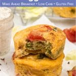 See how to make easy vegetarian egg muffins! Healthy make-ahead frittata muffin cups are greatr for mornings and brunch. The simply savoury breakfast muffin recipe is vegetarian, gluten-free, low carb and keto. These freezer-friendly cheese egg muffins are perfect for kids and toddlers, meal prep and a tasty snack and lunch box idea. Freezeable Mini quiches can be made with spinach, potato, sausage, ham or bacon. #eggmuffins #breakfastcups #frittatamuffins #breakfast | countryhillcottage.com