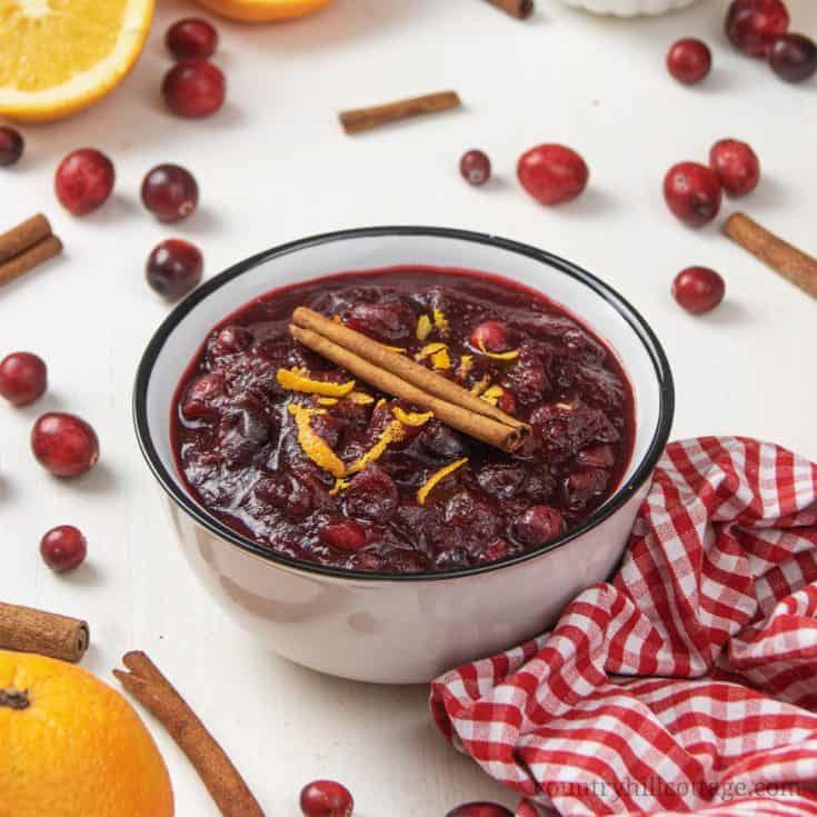 Learn how to make healthy cranberry sauce as holiday side dish for Thanksgiving and Christmas. You only need 15 min to make paleo cranberry sauce. The easy cranberry sauce with orange juice and coconut sugar is refined sugar free, vegan and gluten-free. The simple homemade recipe starts with 3 ingredients, spices, maple syrup, apple juice, port and other liquors can be added. Includes ideas for uses for leftovers. #cranberries #cranberrysauce #paleo #vegan #glutenfree | countryhillcottage.com