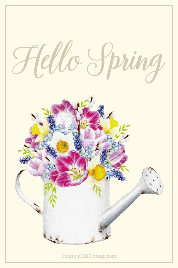 Free Hello Spring Printable! The printable spring decorations includes Easter wall art, quotes and sayings, Easter cards, Easter tags. The design shows vintage inspired aquarelle aesthetic drawings on modern pastel backgrounds. The illustration pictures include flowers, a rabbit/bunny, egg and rustic farmhouse decor. An easy DIY crafts idea for decorating, gifts, baskets, to send greetings, for kindergarten, preschool and school #sping #printables #homedecor #wallart | countryhillcottage.com