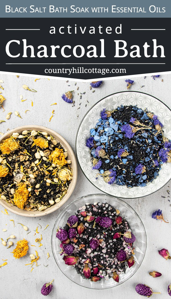 How to make easy DIY floral bath soak recipes scented with essential oils and natural organic ingre-dients. The relaxing activated charcoal bath is made with Himalayan salt and calming lavender. Herbal black salt bath is great for stress, detox, sinus and sore muscles. Suitable for kids and men. Includes packaging/container tips and free printable labels for holiday gifts, wedding favors, Christmas or Mothers Day. Can be made in bulk to sell. #diybathsalts #essentialoils | countryhill-cottage.com