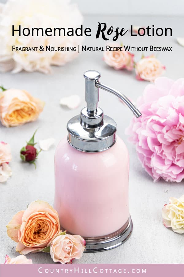 See how to make easy, non greasy DIY rose body lotion with essential oils, vitamin E and natural ingredients. The simple homemade pumpable rose water lotion recipe without beeswax, coconut oil, or shea butter is suitable for firming, dry skin, eczema and sensitive skin. The moisturizing rose lotion recipe is suitable for all skin types. With tips for rose body butter, packaging in pump dispenser bottles, storage and the best shelf life. #roselotion #bodylotion #skincare| countryhillcottage.com