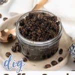 Homemade coffee sugar scrub in a jar