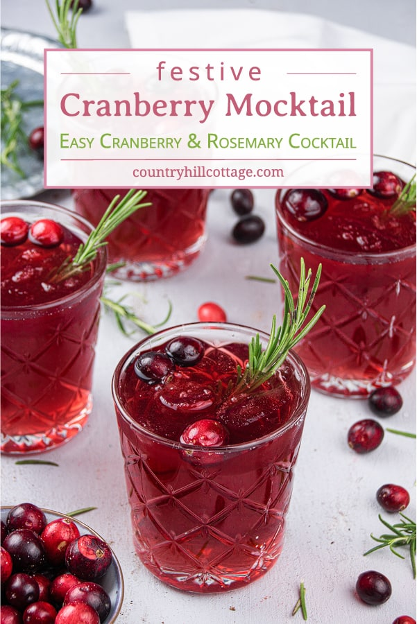 This easy, fruity cranberry mocktail with rosemary is a delicious, kid-friendly Christmas cocktail recipe that everyone can enjoy. Made with cranberries and naturally sweetened, the non alcoholic holiday cranberry cocktail fizz is a fun and refreshing vegan party drink recipe for a crowd. This pretty, simple, healthy Xmas drink recipe is paleo, looks fancy and great for make ahead. Perfect for fall, winter, Thanksgiving and New Year's Eve. #mocktail #cranberrycocktail | countryhillcottage.com