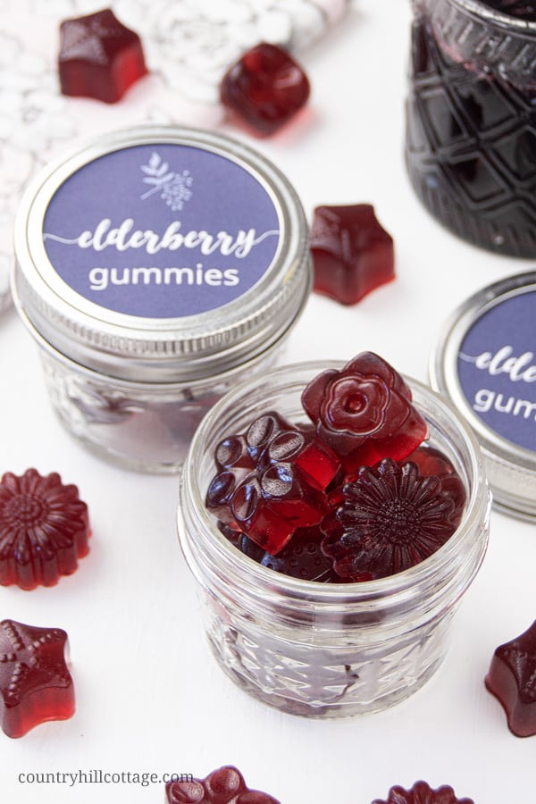 Learn how to make healthy homemade elderberry gummies for kids and toddlers. Made with honey and elderberry syrup, The best DIY fruit snack recipe is loaded with vitamins and antioxidants and has many health benefits for the immune system during the cold and flu season. Making organic elderberry gummy bears is easy and fun. Includes tips for vegan/vegetarian gummies with agar and printable labels for packaging. #fruitsnack #gummies #elderberry #homeremedies #flueseason | countryhillcottage.com
