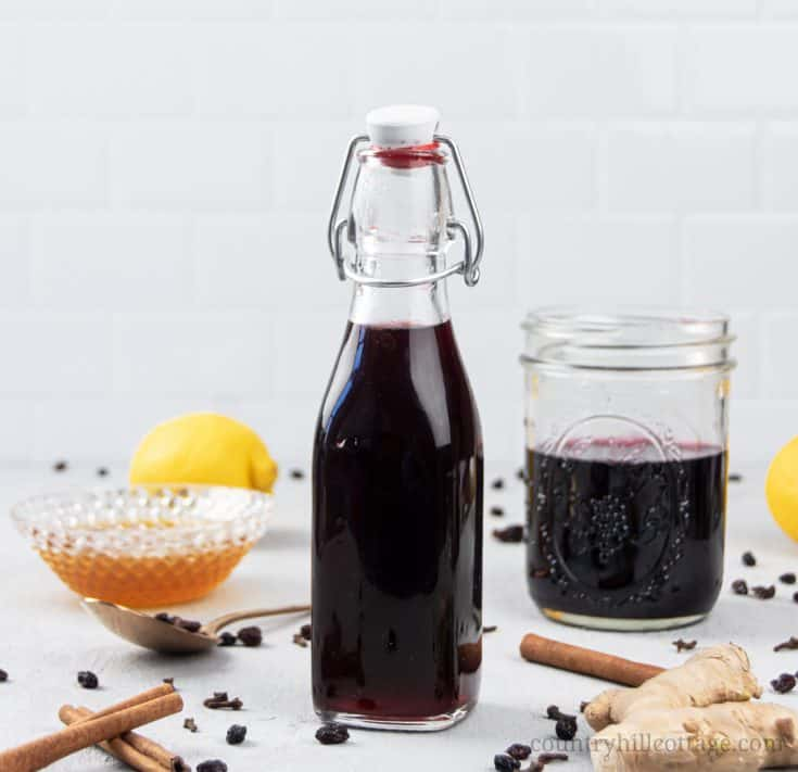 See how to make homemade thick elderberry syrup with dried elderberry. The DIY recipe can be made with turmeric, echinacea, rosehips, apple cider, essential oils, vegan without honey, in the Instant Pot, crockpot, pressure cooker or slow cooker. The syrup is great for colds, babies, kids and toddlers and has health benefits for the immune system. With tips for canning, uses, how to take, dosage chart and printable labels. #elderberries #elderberrysyrup #naturalremedy | countryhillcottage.com