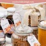 Healthy homemade fall food gift ideas are packed full of delicious autumn flavours and are perfect for a fall gift basket. The easy handmade gourmet edible gifts recipes are great present for holidays, your mom, bff, friends, girlfriend or boyfriend, men, teachers, or to say thank you. The creative and unique autumn DIY gifts and baked goods are simple to make and mail. Plus, get tips for packing and free printable labels and tags for wrapping. #foodgifts #giftgiving | countryhillcottage.com