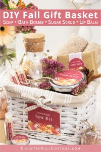 A DIY beauty fall gift basket is a great homemade autumn gift idea! Learn 6 natural pumpkin spice gifts for a relaxing spa kit set. Included are easy skincare recipes for handmade soap, bath bombs, sugar scrub in a jar, body butter, lip balm bath salt and free printable labels for packaging. A cozy beauty hamper is a gift basket idea for women, for her, for men, for him, for girlfriend, for office, Thanksgiving. #giftbasket #beautyhamper #homemadegift #giftideas #spakit | countryhillcottage.com