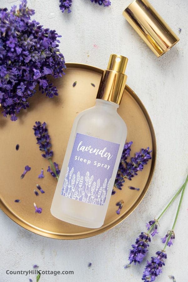 Homemade lavender spray with essential oils