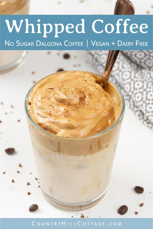 How do you make creamy whipped coffee without sugar? See how to make the best Keto Dalgona coffee or DIY Tik Tok coffee! Easy healthy low carb 3 ingredient whipped coffee recipe with almond milk. The homemade sugar free frothy coffee drink is dairy free, vegan, no sugar, paleo. No sugar Korean coffee beverage can be served hot or cold, iced. Includes tips for ingredients, espresso and whipped coffee without instant coffee. #whippedcoffee #dalgonacoffee #dalgona #coffee | countryhillcottage.com