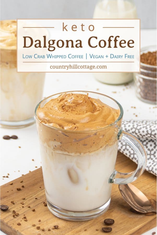 How do you make creamy whipped coffee without sugar? See how to make the best Keto Dalgona coffee or DIY tiktok coffee! Easy healthy low carb 3 ingredient whipped coffee recipe with almond milk. The homemade sugar free frothy coffee drink is dairy free, vegan, no sugar, paleo. No sugar Korean coffee beverage can be served hot or cold, iced. Includes tips for ingredients, espresso and whipped coffee without instant coffee. #whippedcoffee #dalgonacoffee #dalgona #coffee | countryhillcottage.com