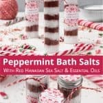 See how to make pretty DIY peppermint bath salts with Alaea red Hawaiian salt and with essential oils. Red and white candy cane bath salts are perfect to relax in the tub and make an excellent holiday gift. This homemade Christmas bath salt recipe comes with packaging ideas and free printable labels for packaging and gifting. The all-natural bath soak with peppermint essential oil is a great handmade holiday present. #bathsalt #bathsalts #essentialoils #bathsoak #gift | countryhillcottage.com