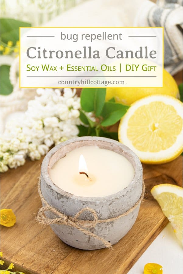 See how to make the best DIY citronella candles with essential oils that repel mosquitos! These non-toxic outdoor candles are a natural bug repellent and ward off mosquitoes and other insects. The homemade citronella candle recipe is a summer patio and party staple to protect you from pesky bug bites! The easy soy candle making tutorial includes tips for mason jars, fragrance scent blends and printable labels for gifts. A great beginner candle making recipe! #candles | countryhillcottage.com