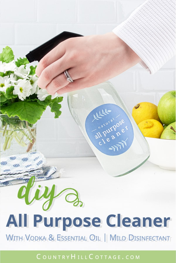 See how to make the best natural DIY all purpose cleaner recipe with essential oils! The homemade zero waste mildly disinfectant cleaning spray can be made with vodka, rubbing alcohol, Dr Bronners castile soap, Sal Suds, Dawn, Thieves, On Guard, washing soda, baking soda, hydrogen peroxide and lemon EO. Easy method for how to make your own DIY Mrs Meyers without vinegar, without borax. Safe for marble and granite, plus printable labels #cleaner #cleaning #greenliving | countryhillcottage.com