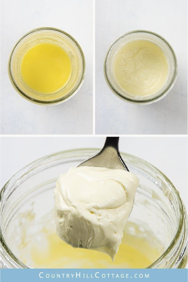 Learn how to make a homemade moisturizing eye cream with natural ingredients. This DIY hydrating eye cream for sensitive skin feels velvety and is perfect to care for the skin around the eyes. The materials in this lightweight eye moisturizer recipe include birch sap, berry fruit wax and mix of nourishing oils. The step-by-step tutorial comes with free printable labels for packaging. #eyecream #naturalskincare #greenbeauty #moisturizer #birchwater | countryhillcottage.com