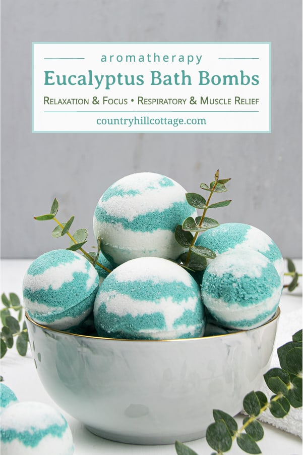 This easy homemade eucalyptus bath bombs recipe looks pretty in water and is very relaxing, perfect for at home wellness! Pretty fizzy essential oil bath bombs without cornstarch are beneficial to relieve respiratory problems, sinus congestion and headaches, and to soothe sore muscles and joints. See how to make simple natural aromatherapy bath bombs with eucalyptus, learn about packaging and storage tips and other essential oil scents ideas like lavender, lemon or peppermint. Great for kids and men. #bathbombs #eucalyptus #aromatherapy #essentialoils | countryhillcottage.com