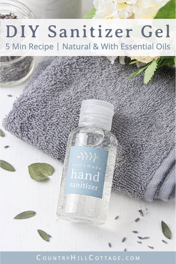 Learn how to make your own hand sanitizer at home with natural ingredients! This DIY hand sanitizer gel has a light texture and won't dry your hands out. The hand rub recipe is made with alcohol, moisturizing aloe vera and essential oils. Includes an alternative for homemade hand sanitizer without aloe vera. Best in mini pump bottles, great for kids and families, can be made with thieves and on guard. Free printable labels for packaging. #handsanitizer #essentialoils | countryhillcottage.com
