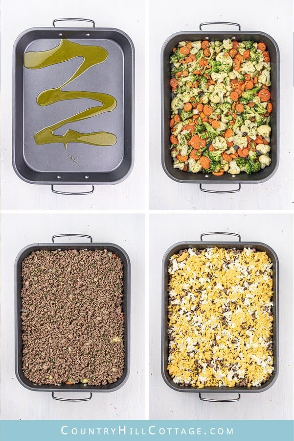 This easy low carb keto ground casserole recipe with cauliflower and stir fry broccoli is a quick dinner idea for families dish and great for weeknight meals and midweek dishes. Simple keto ground beef recipe is gluten-free comfort food and perfect to feed a crowd or for a potluck. The healthy casserole recipe also includes seasoning tips and variations (cheeseburger casserole) for the best skinny beef casserole ever. #casserole #ketocasserole #groundbeef #lowcarb #keto   countryhillcottage.com