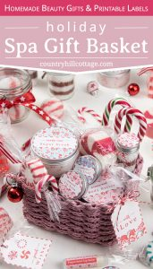 See how to make holiday spa gift set with homemade beauty gifts! This girly and cute candy cane themed relaxation gift box is an inexpensive DIY Christmas gift basket for women, girls, mom, teenagers, friends, teachers, coworkers, and neighbors. This easy relaxation gift basket idea is a unique, elegant present to pamper someone special. Includes gift wrapping ideas and free printables. #spagiftbasket #relaxationgiftbox #homemadespagiftbasket #giftbasket #Christmasgift   countryhillcottage.com