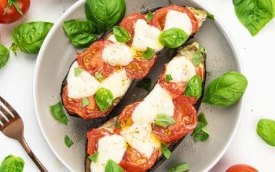 Oven Baked Eggplant with Cheese and Tomatoes {30 Min Keto Recipe}