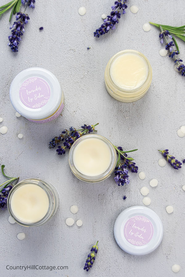 DIY Lavender Lip Balm with printable labels for gifts