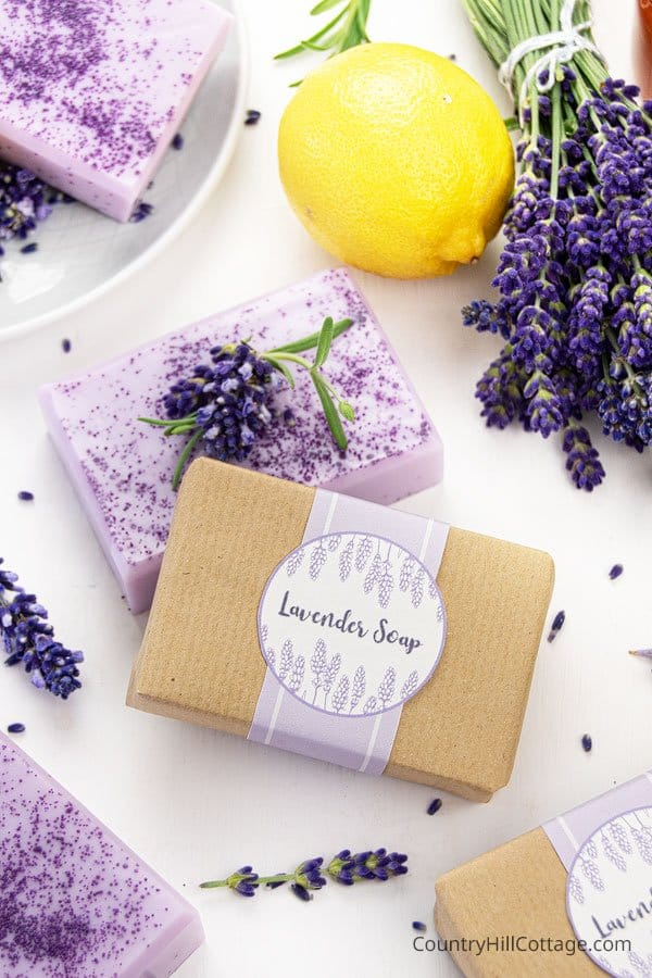 Lavender soap gift idea with free printable soap label