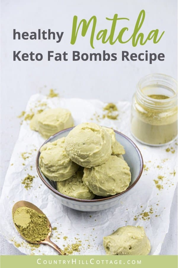 How to make easy low carb keto matcha cheesecake fat bombs that taste like cookie dough. The easy healthy no bake ketogenic 3 ingredient cheesecake bites recipe includes variations for chocolate, peanut butter, vanilla, strawberry, lemon, raspberry, cherry, blueberry, pumpkin, peppermint, cinnamon, and key lime crustless cheesecake fat bombs. Made with cream cheese, butter or coconut oil, and green tea powder. No sugar, no crust. #cheesecake #fatbombs #lowcarb #matcha | countryhillcottage.com