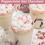 Peppermint white hot chocolate! Learn how to make dairy-free keto peppermint hot chocolate from scratch with just 10 minutes prep. This healthy sugar-free white hot chocolate recipe is a wonderful hot drink for the holiday season. The easy low-carb homemade Christmas hot chocolate recipe is made with almond milk, stevia and cocoa butter and tastes super creamy and delicious. #ketohotchocolate #keto #lowcarb #sugarfree #pepperminthotchocolate #Christmashotchocolate | countryhillcottage.com