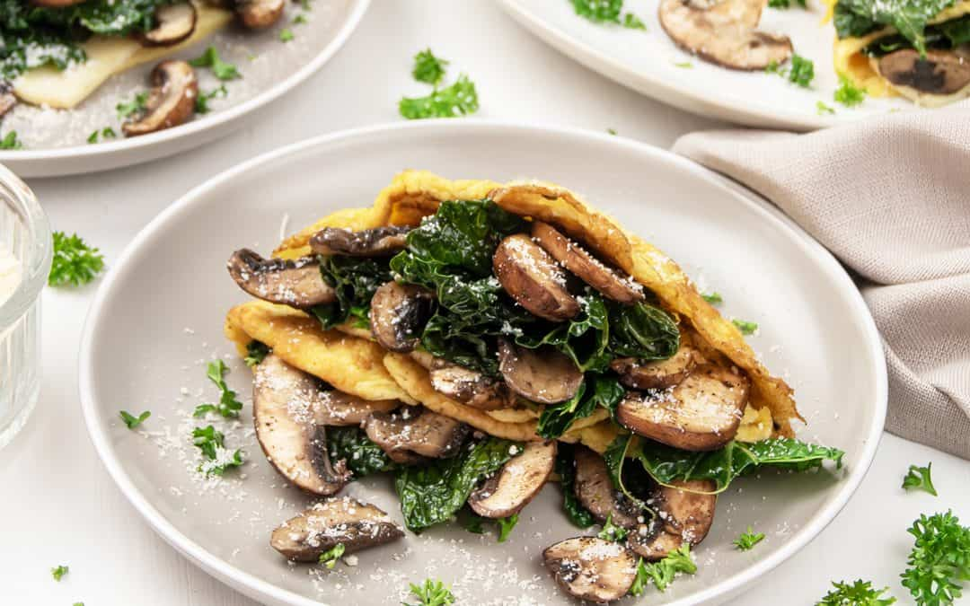Mushroom Kale Frittata Crepes Recipe