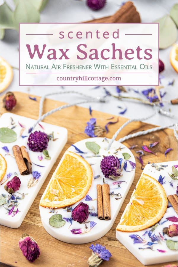 How to make DIY scented wax sachets with soy wax, essential oils and dried botanicals. Simple homemade natural wax air freshener is a long lasting odor eliminator to fragrance closets, drawers and other small spaces. The recipe makes cute Christmas gifts, decor, wedding favor or souvenir. Includes pink rose fragrance and lavender aroma hexagon scented sachets. With tips for uses, where to put, 6 designs and printable gift tags for packaging. #homefragrance #essentialoils| countryhillcottage.com