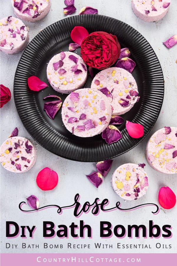 DIY Bath Bomb Recipe with Dried Rose Petals