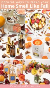 Learn how to make your house smell like fall naturally! Homemade air fresheners are perfect to bring fall scents into your home without synthetic fragrances. DIY soy candles, wax melts, simmer scents, potpourri, essential oil room spray recipes and diffuser blends, are natural ways to make your home smell amazing in autumn. These easy DIY ideas are perfect for green living, eco-friendly home deodorizing and home decor. #fall #homefragrance #airfreshener #essentialoils | countryhillcottage.com