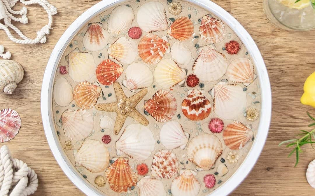 How To Make A DIY Beach Tray with Seashells (Seashell Serving Tray)