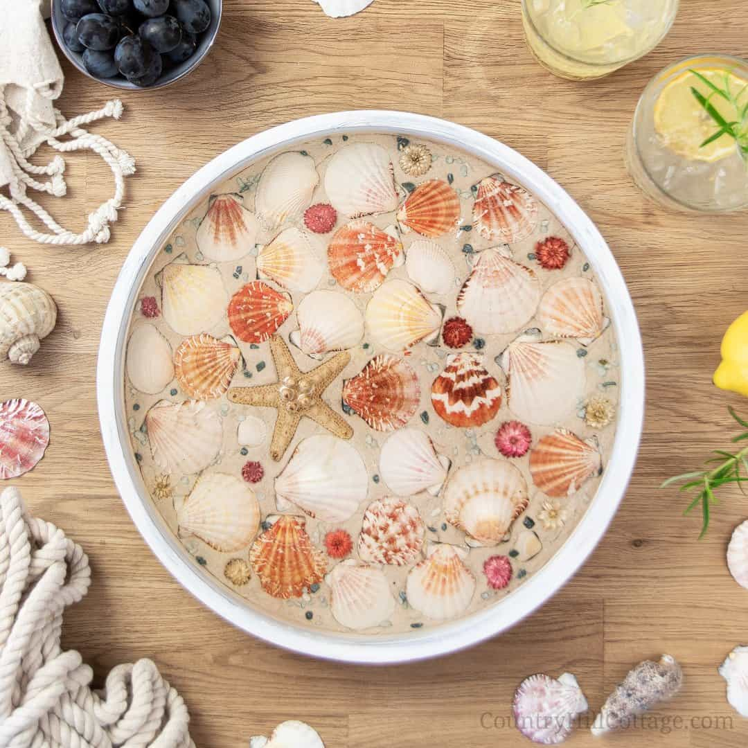 How To Make A Diy Beach Tray With Seashells Seashell Serving Tray