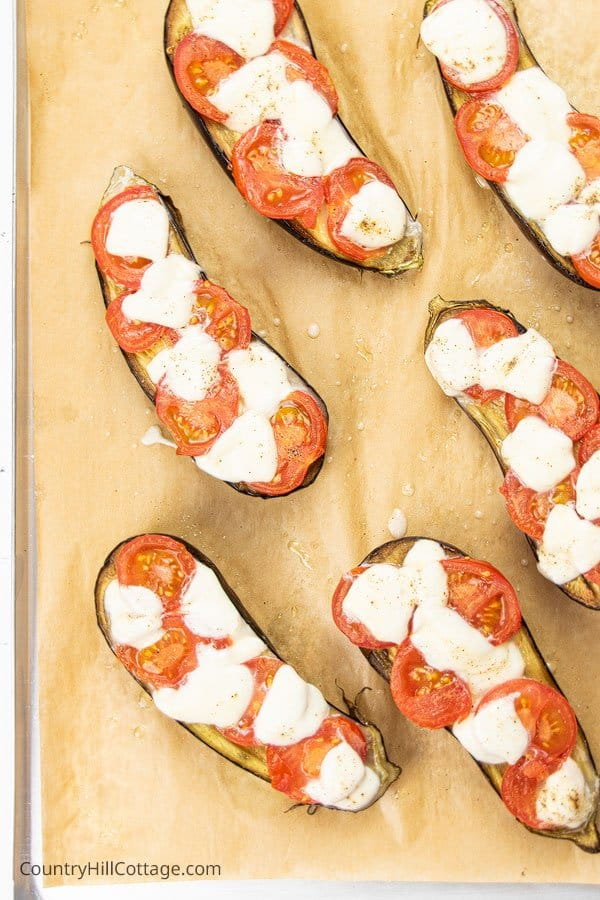 Oven baked eggplant on a baking sheet