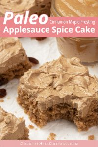 The best moist vegan applesauce cake with raisins and cinnamon maple frosting for autumn! Learn how to make easy gluten free paleo spiced applesauce cake from scratch with one bowl. The quick recipe tastes like grandma's old-fashioned cake and you can't go wrong with this healthy flourless applesauce cake and vegan icing. With almond and coconut flour. Grain free, flourless, no eggs, no butter. #applesauce #applesaucecake #vegan #vegancake #paleo #paleocake #glutenfree | countryhillcottage.com
