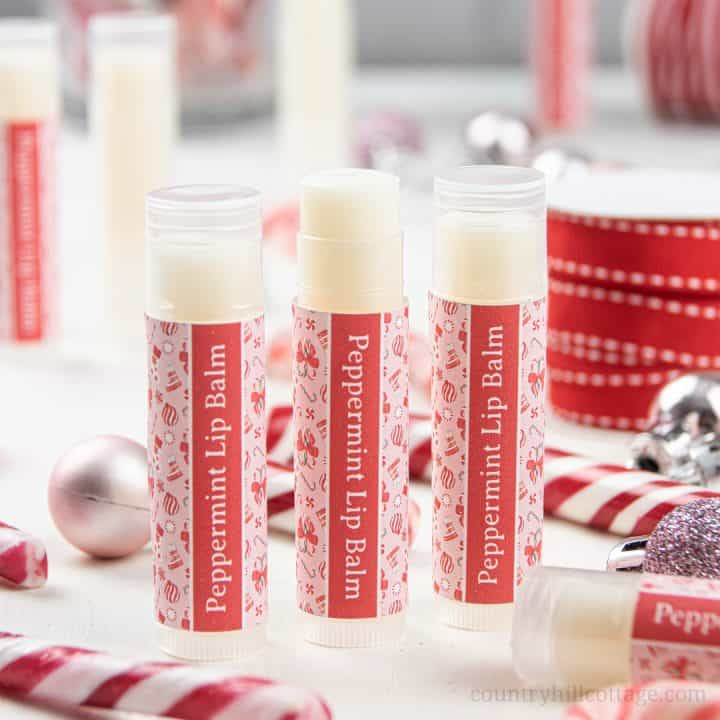 Peppermint Lip Balm – DIY Candy Cane Lip Balm Recipe with Printable Labels