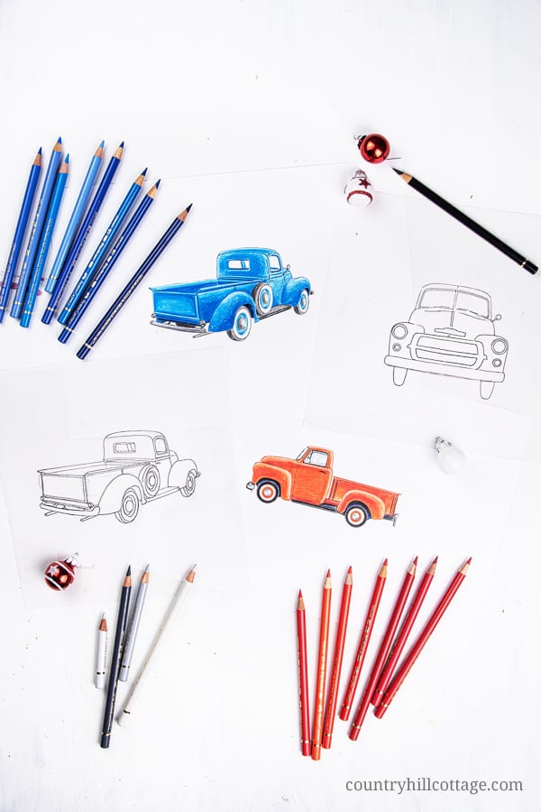 Pencil drawing and sketches of Christmas trucks. The artwork was used to create a kit of free holi-day printables. including wall art signs (8x10, 5x7, 4x6), greeting cards and gift tags. The prints are illustrated with vintage Christmas trucks and holiday decorations. The design is festive, a little rustic, creative, unique and farmhouse, perfect for friends and family. Included are 8 designs and text messages. #drawing #sketch #artwork #Christmastruck | countryhillcottage.com