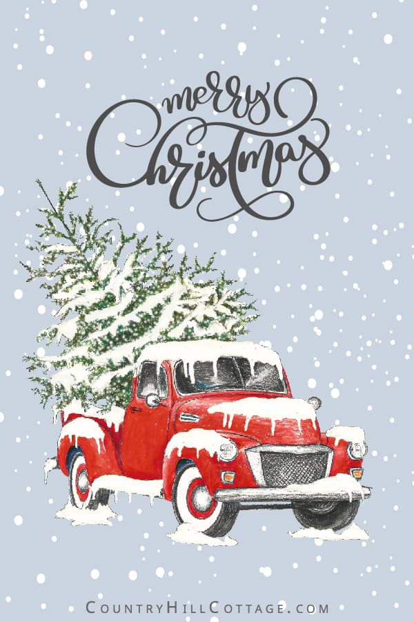 Cute red vintage Christmas truck with tree! Download FREE DIY printables, including wall art signs (8x10, 5x7, 4x6), greeting cards and gift tags. The pictures are made from a painting and drawing and show a vintage Chevy, gifts and ornaments before a snow background. Merry Christmas holi-day truck illustration and quotes for gift wrapping, door hanger, ornament, rustic farmhouse deco-rations and more ideas. #printable #Christmasprinatbles #Christmastruck #decor #truck | coun-tryhillcottage.com