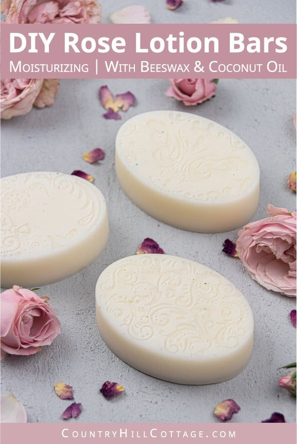 How to make and how to use easy natural DIY rose solid lotion bars with essential oil, beeswax and coconut oil. The easy non greasy homemade 3 ingredient recipe has benefits for dry skin in winter, eczema, hand and body. Can be made vegan, with shea butter, or other scents like lavender, peppermint or vanilla. A home made mini gift for Christmas and other holidays. Comes with labels, tips for molds, packaging, storage containers and how to store. #bodylotion #lotionbars | countryhillcottage.com