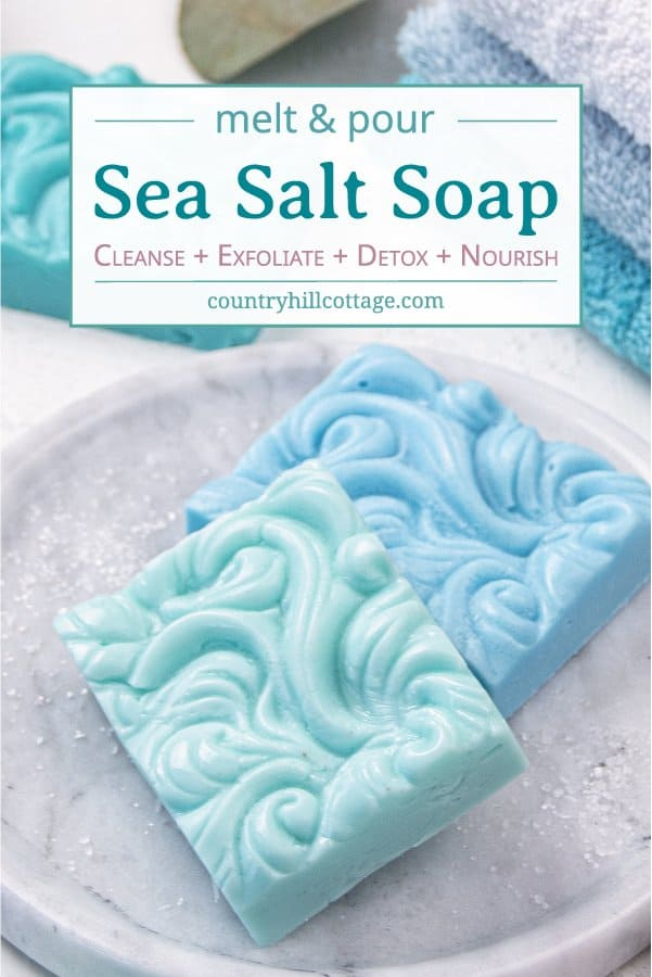 How to make natural sea salt soap hand and body bars! An easy DIY sea salt soap recipe with pink Himalayan sea salt, moisturizing shea butter, essential oils and goats milk or glycerin base. The homemade melt and pour soap is an easy soap making tutorial for beginners and has benefits for acne, eczema, and dry skin. Great for men, kids and gifts. With tips for swirls molds, how to store, packaging ideas and more recipes inspiration. #soap #saltbar #saltsoap #soapmaking | countryhillcottage.com