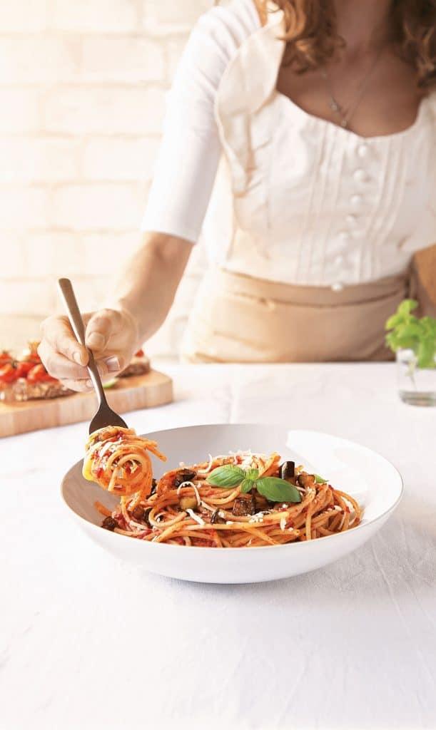 Sicilian Pasta alla Norma from 20-Minute Italian by Andrea Soranidis Page Street Publishing Co. 2019. © Photo Credit: Andrea Soranidis